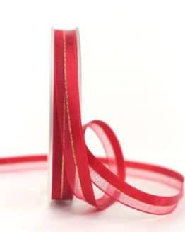 Organzaband m. Satinstreifen rot , 10 mm - organzaband-weihnachten, organzaband-einfarbig, geschenkband-weihnachten