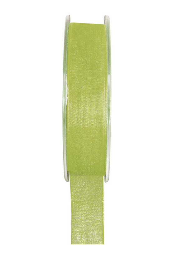 Organzaband BUDGET grün, 7 mm x 20 m Rolle - organzaband-einfarbig