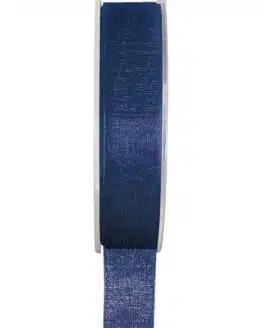 Organzaband BUDGET marineblau, 7 mm x 20 m Rolle - organzaband-einfarbig