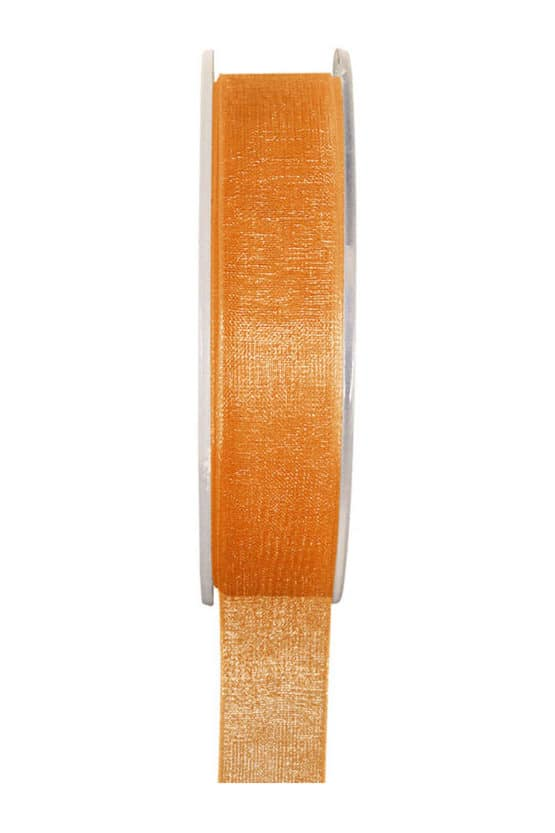 Organzaband BUDGET orange, 7 mm x 20 m Rolle - organzaband-einfarbig