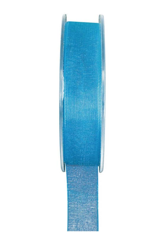 Organzaband BUDGET türkis, 7 mm x 20 m Rolle - organzaband-einfarbig