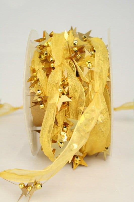 Organzaband-Girlande mit Sternen, gold - sonderangebot, organzaband-weihnachten, geschenkband-weihnachten, 30-rabatt