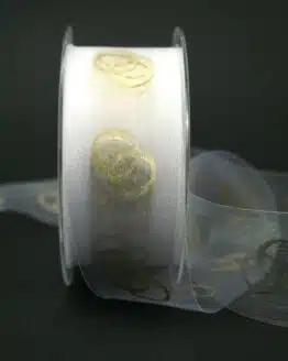 Organzaband mit goldenen Ringen, weiß, 40 mm breit - schnittkante, hochzeit, organzaband, anlasse