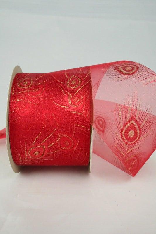 Breites Organzaband mit goldener Pfauenfeder, rot, 60 mm - organzaband-weihnachten, geschenkband-weihnachten