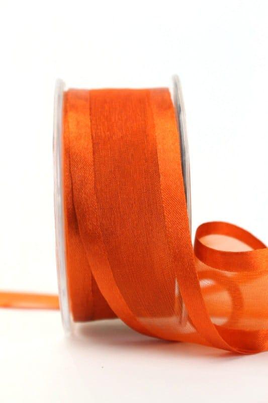 Organzaband mit Satinrand rost, 40 mm - organzaband-einfarbig