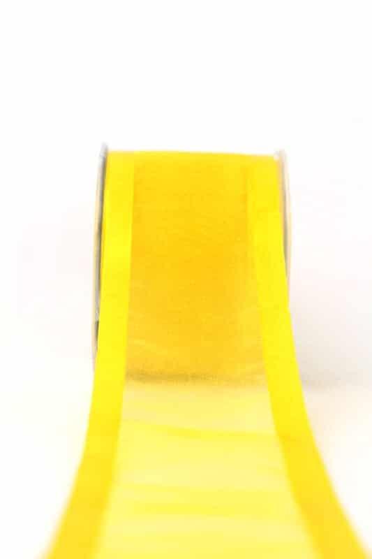 Organzaband mit Satinrand sonnengelb, 70 mm - organzaband-einfarbig