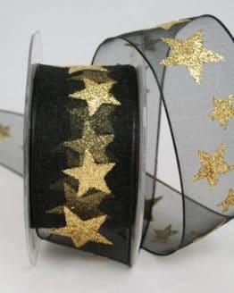 Organzaband mit goldenen Sternen, schwarz, 40 mm - organzaband-weihnachten, geschenkband-weihnachten