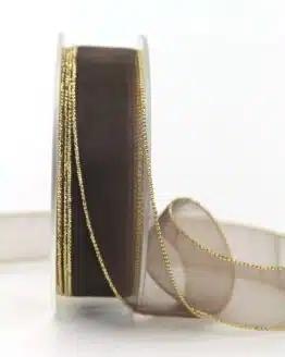 Organzaband braun m. Goldkante, 20 mm breit - organzaband-einfarbig, geschenkband-weihnachten