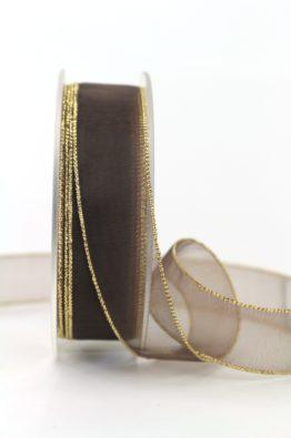 Organzaband braun mit Goldkante 20mm (31600162070825)