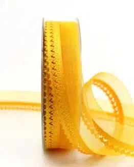 Organzaband gelb, 25 mm, mit Designkante - organzaband-gemustert