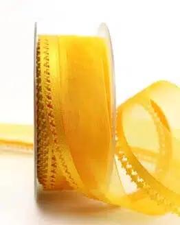 Organzaband gelb, 40 mm, mit Designkante - organzaband-gemustert
