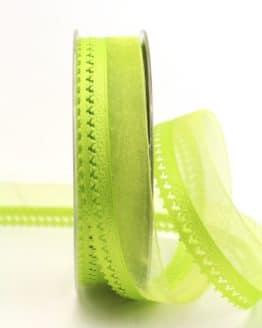 Organzaband hellgrün, 25 mm, mit Designkante - organzaband-gemustert