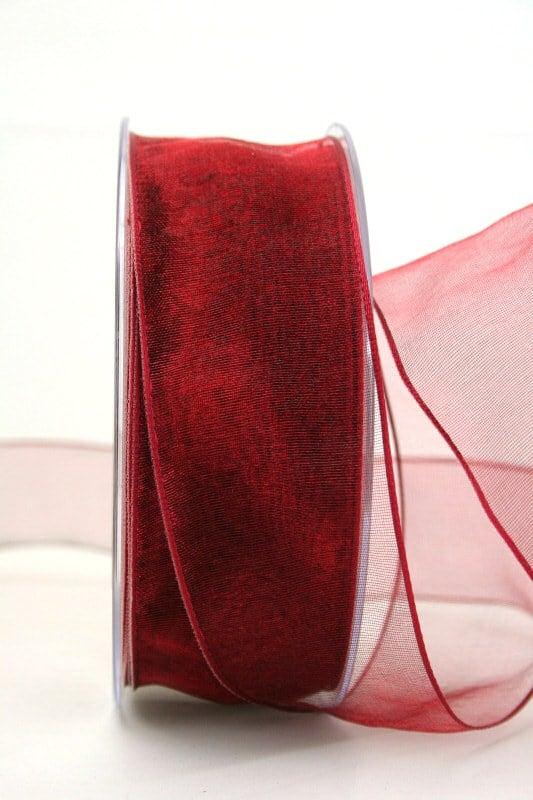 Organzaband mit Drahtkante, bordeaux, 40 mm breit - organzaband-mit-drahtkante, dauersortiment