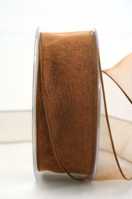 Organzaband mit Drahtkante 40mm braun (40719-40-132)