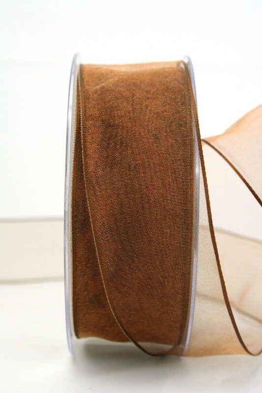 Organzaband braun, 40 mm, mit Drahtkante - organzaband, organzaband-mit-drahtkante, organzaband-einfarbig
