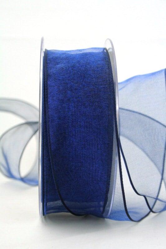 Organzaband mit Drahtkante, dunkelblau, 40 mm breit - organzaband-mit-drahtkante, dauersortiment