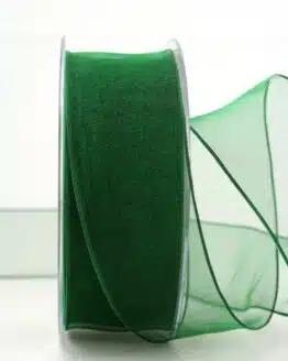 Organzaband dunkelgrün, 40 mm, mit Drahtkante - organzaband, organzaband-mit-drahtkante, organzaband-einfarbig