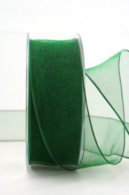 Organzaband mit Drahtkante 40mm dunkelgrün (40719-40-111)