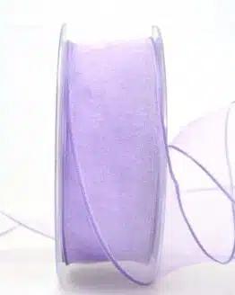 Organzaband mit Drahtkante, flieder, 40 mm breit - organzaband-mit-drahtkante, dauersortiment