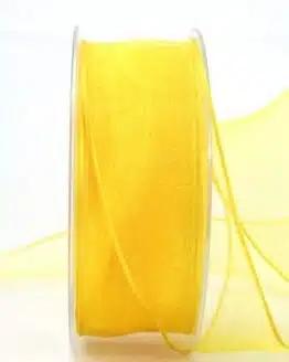 Organzaband gelb, 40 mm, mit Drahtkante - organzaband, organzaband-mit-drahtkante, organzaband-einfarbig