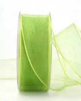 Organzaband mit Drahtkante, hellgrün, 40 mm breit - organzaband-mit-drahtkante, dauersortiment
