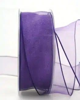 Organzaband lila, 40 mm, mit Drahtkante - organzaband, organzaband-mit-drahtkante, organzaband-einfarbig