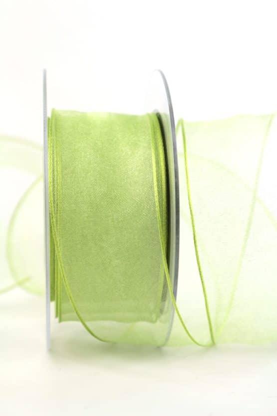 Organzaband maigrün, 40 mm, mit Drahtkante - sonderangebot, organzaband, organzaband-mit-drahtkante, organzaband-einfarbig, 50-rabatt