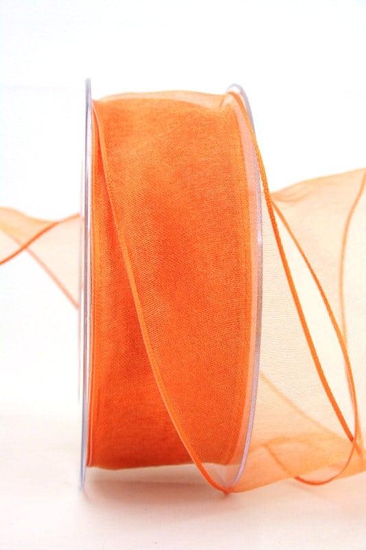 Organzaband mit Drahtkante, orange, 40 mm breit - organzaband-mit-drahtkante, dauersortiment