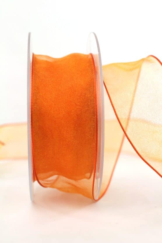 Organzaband mit Drahtkante, orange, 40 mm breit - webkante, sonderangebot, organzaband, organzaband-mit-drahtkante, organzaband-einfarbig, 50-rabatt