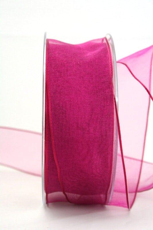 Organzaband mit Drahtkante, pink, 40 mm breit - organzaband-mit-drahtkante, dauersortiment