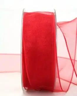 Organzaband mit Drahtkante, rot, 40 mm breit - organzaband-mit-drahtkante, dauersortiment