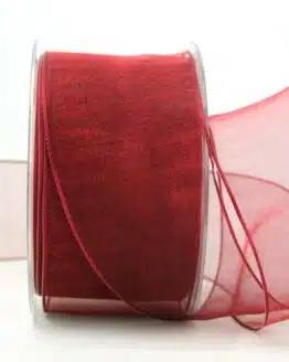 Organzaband weinrot, 60 mm, mit Drahtkante - organzaband, organzaband-mit-drahtkante, organzaband-einfarbig