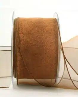 Organzaband braun, 60 mm, mit Drahtkante - organzaband, organzaband-mit-drahtkante, organzaband-einfarbig