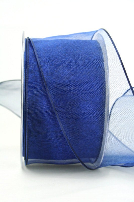 Organzaband dunkelblau, 60 mm, mit Drahtkante - organzaband, organzaband-mit-drahtkante, organzaband-einfarbig