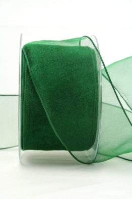 Organzaband mit Drahtkante 60mm dunkelgrün (40719-60-111)