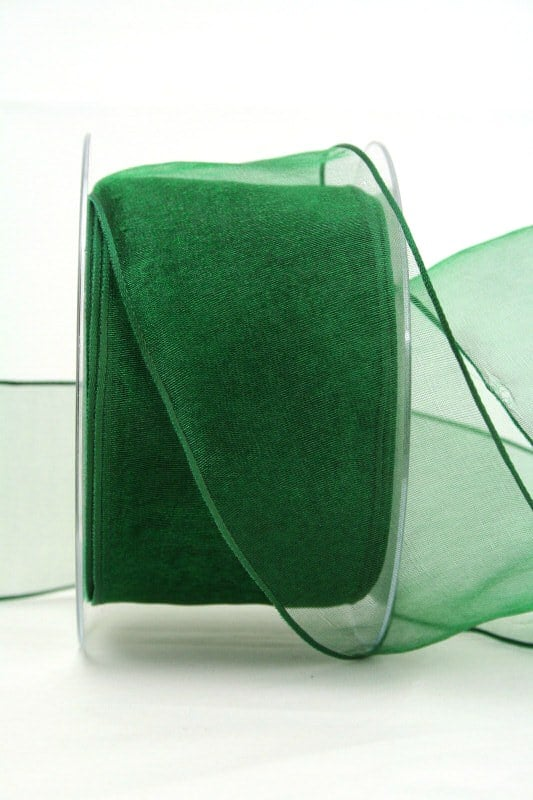 Organzaband dunkelgrün, 60 mm, mit Drahtkante - organzaband, organzaband-mit-drahtkante, organzaband-einfarbig