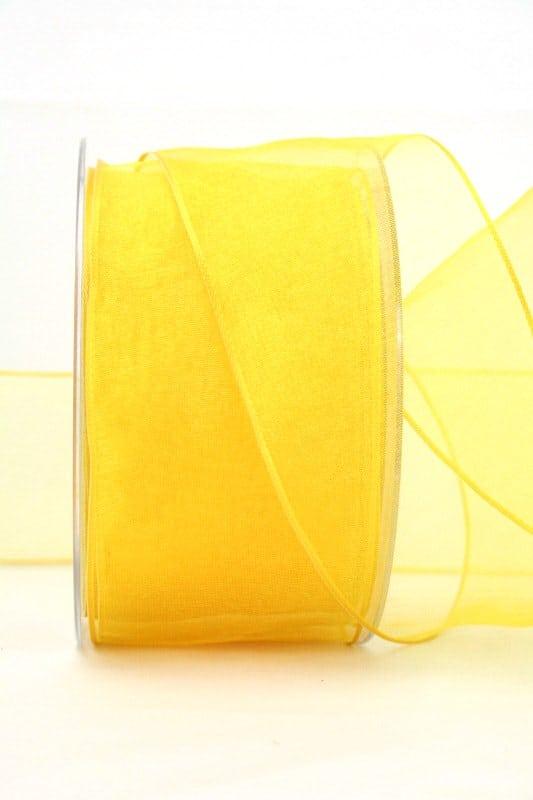 Organzaband gelb, 60 mm, mit Drahtkante - organzaband, organzaband-mit-drahtkante, organzaband-einfarbig