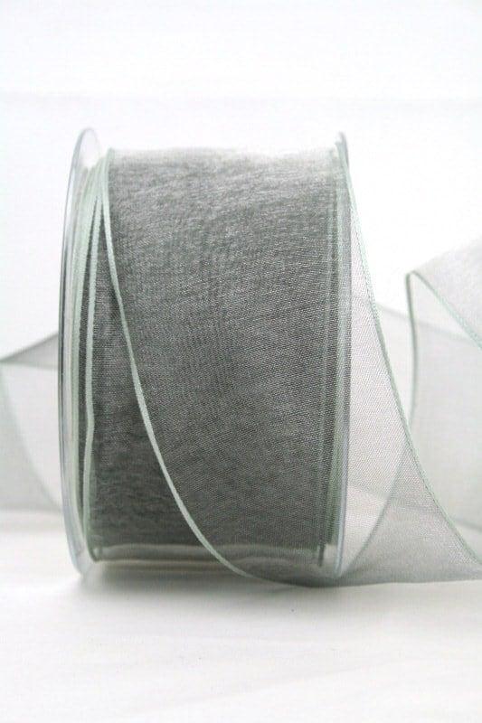 Organzaband hellgrau, 60 mm, mit Drahtkante - organzaband, organzaband-mit-drahtkante, organzaband-einfarbig