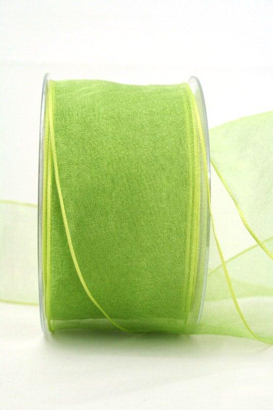 Organzaband hellgrün, 60 mm, mit Drahtkante - organzaband, organzaband-mit-drahtkante, organzaband-einfarbig