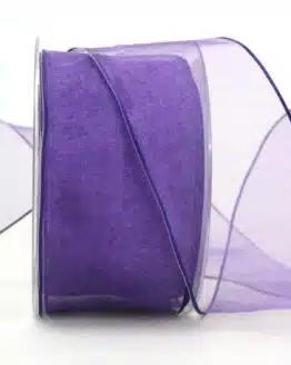 Organzaband lila, 60 mm, mit Drahtkante - organzaband, organzaband-mit-drahtkante, organzaband-einfarbig
