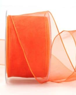 Organzaband orange, 60 mm, mit Drahtkante - organzaband, organzaband-mit-drahtkante, organzaband-einfarbig