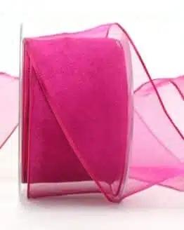 Organzaband pink, 60 mm, mit Drahtkante - organzaband, organzaband-mit-drahtkante, organzaband-einfarbig