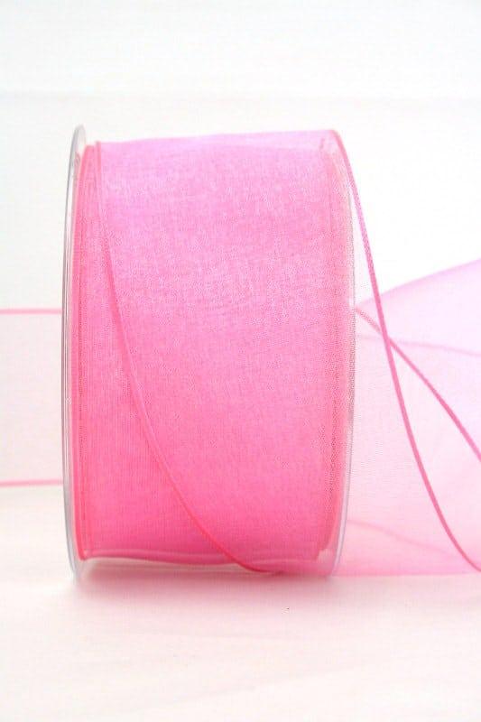 Organzaband rosa, 60 mm, mit Drahtkante - organzaband, organzaband-mit-drahtkante, organzaband-einfarbig