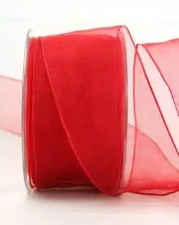 Organzaband rot, 60 mm, mit Drahtkante - organzaband, organzaband-mit-drahtkante, organzaband-einfarbig