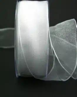 Organzaband weiß, 40 mm, mit Drahtkante - organzaband, organzaband-mit-drahtkante, organzaband-einfarbig