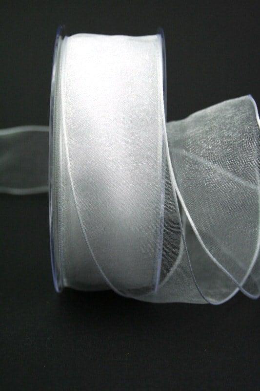 Organzaband weiß, 60 mm, mit Drahtkante - organzaband, organzaband-mit-drahtkante, organzaband-einfarbig