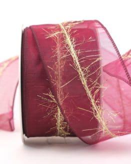 Organzaband mit Goldfransen, bordeaux, 60 mm - organzaband-weihnachten, geschenkband-weihnachten