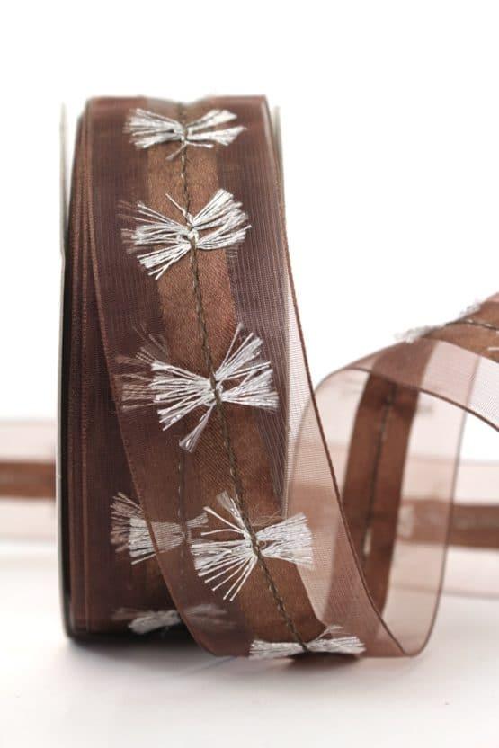 Organzaband mit Silberfransen, braun, 40 mm - sonderangebot, organzaband-weihnachten, geschenkband-weihnachten, 30-rabatt