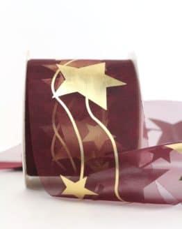 Organzaband mit goldenen Sternen, bordeaux, 70 mm - organzaband-weihnachten, organzaband-gemustert, geschenkband-weihnachten