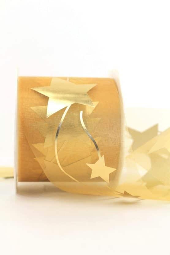 Organzaband mit goldenen Sternen, gold, 70 mm - organzaband-weihnachten, organzaband-gemustert, geschenkband-weihnachten